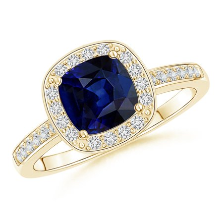 September Birthstone Ring - Cushion Blue Sapphire Engagement Ring with Diamond Accents in 14K Yellow Gold (6mm Blue Sapphire) - SR1031SD-YG-AAA-6-10.5