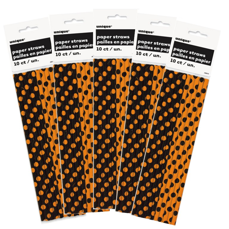Unique Halloween Polka Dot Paper Straws, 50 Ct (5 packs of 10)