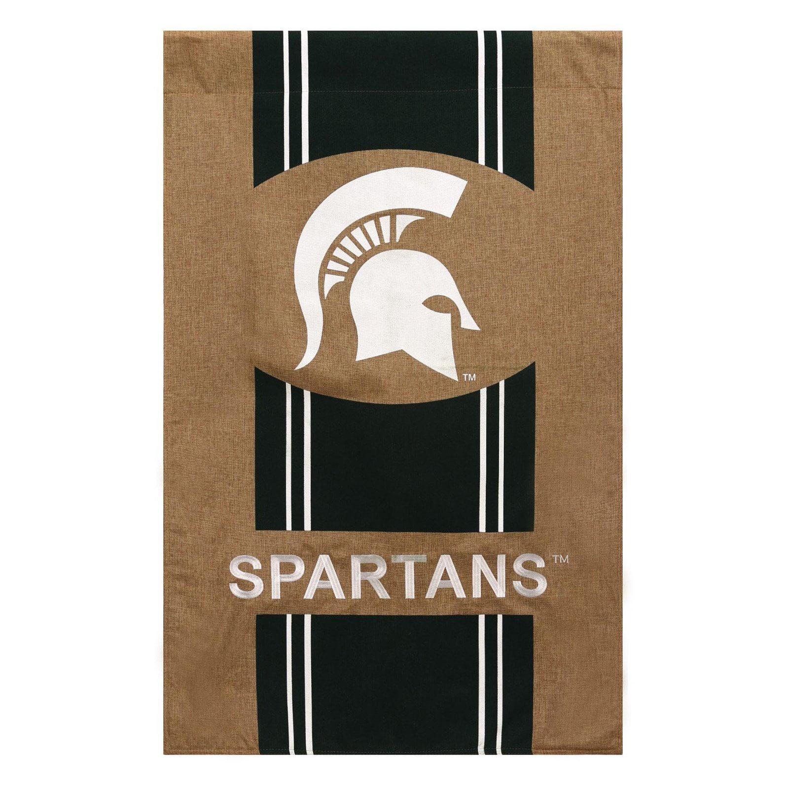 Team Sports America NCAA Striped Burlap Garden Flag