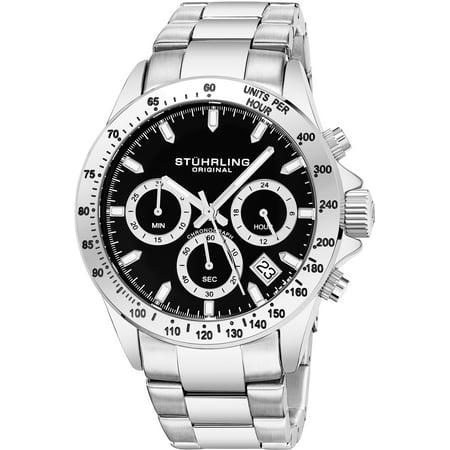 3960.1 Men's Quartz Chronograph Date Watch, Silver Case, Black Dial, Stainless Steel Bracelet Dial Acrylic Date Watch