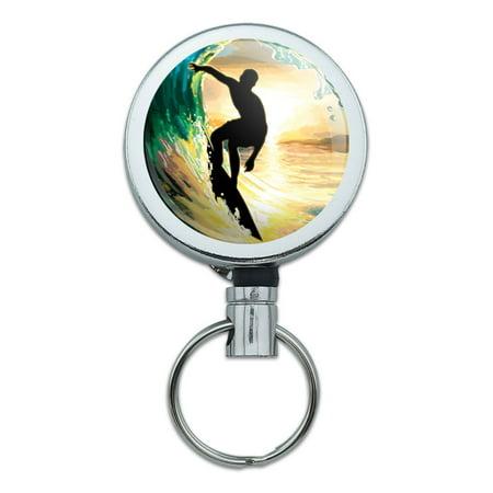 Wave Surfing Ocean Surfer Retractable Belt Clip Badge Key Holder - Surfer Supplies