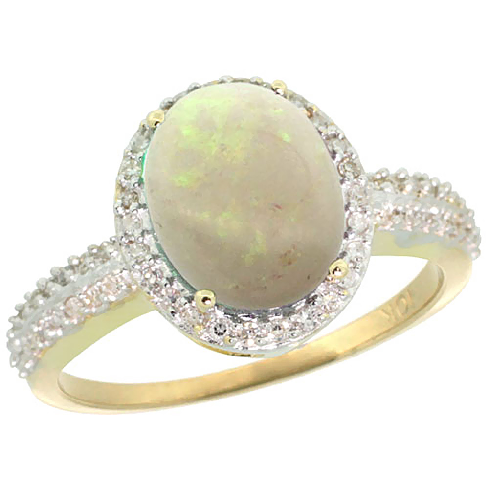 14K Yellow Gold Diamond Natural Opal Ring Oval 10x8mm, sizes 5-10 by WorldJewels