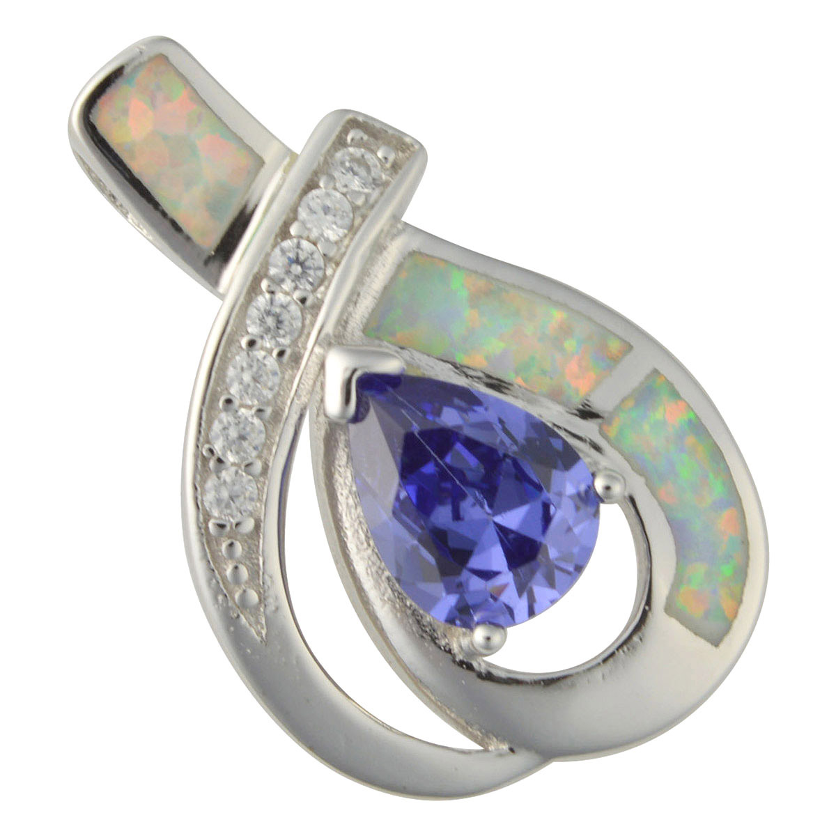 Sterling Silver White Created Opal & Blue CZ Pendant 925 Silver Jewelry