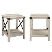 Magnolia Metal X-Frame Grey Wash End Table by Desert Fields, Set of 2