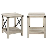 Magnolia Metal X Set of 2 Grey Wash End Tables by Desert Fields