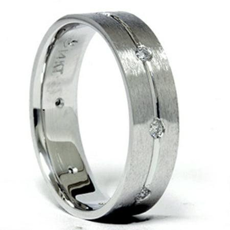 mens white gold comfort fit si diamond wedding band new - Mens White Gold Wedding Ring