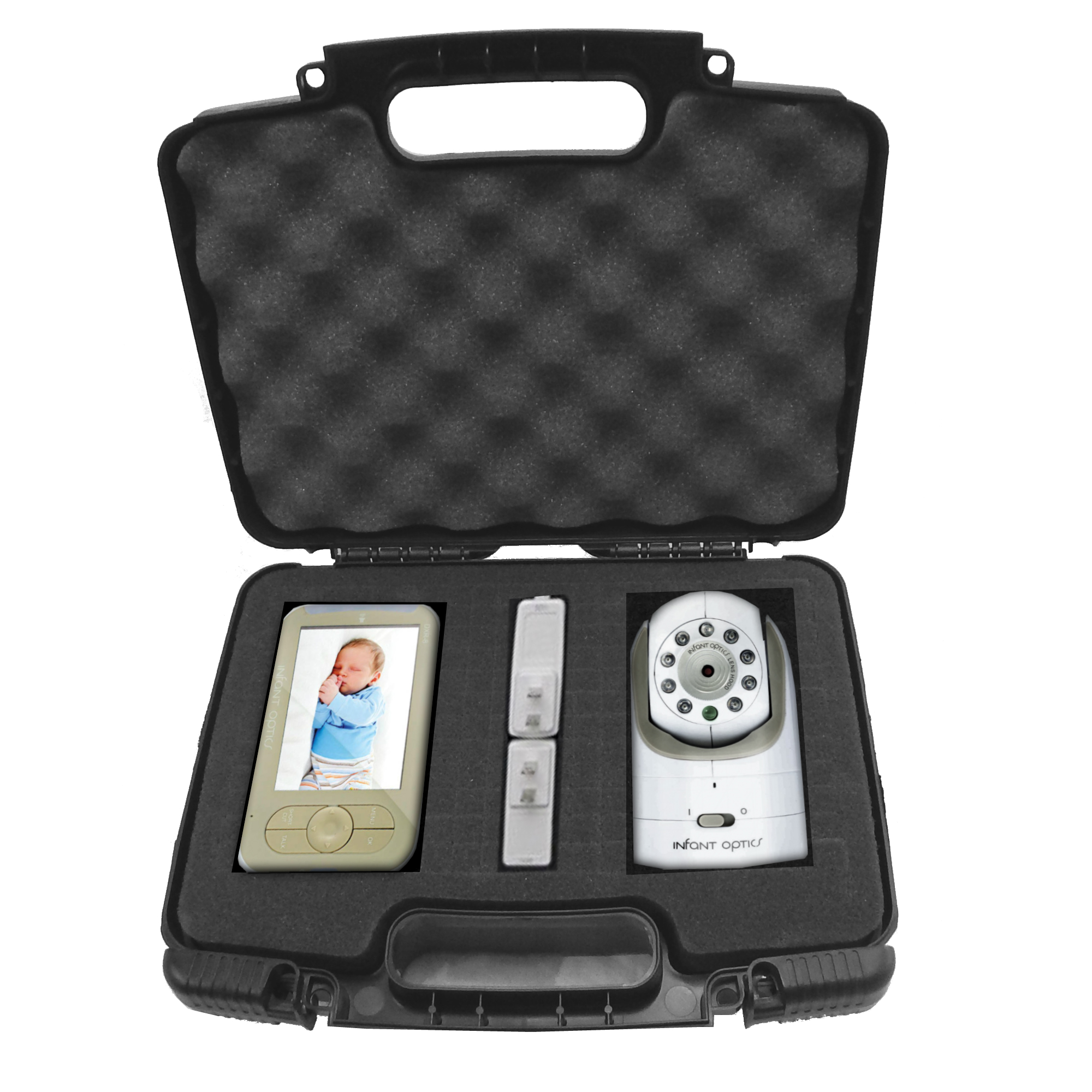 CASEMATIX Video Baby Monitor Ultra Protective Travel Carry Case with Impact Resistant Customizable Foam - Fits Infant Optics DXR-8 Digital Baby monitor , Camera , Screen , Lenses and Cables.