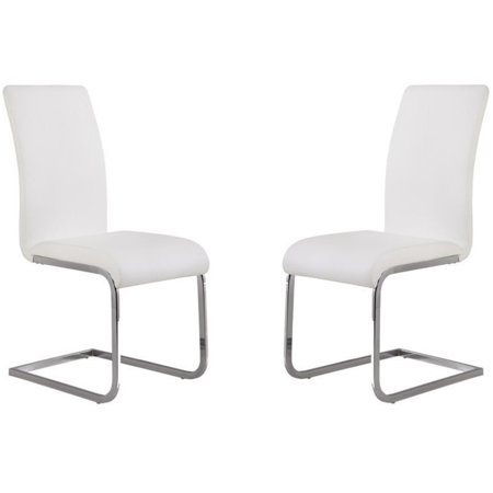 Hawthorne Collections Faux Leather Dining Chair in White (Set of 2)