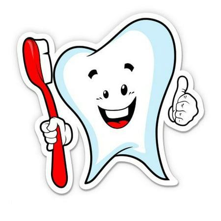 Dental Happy Tooth Toothbrush - Vinyl Sticker Waterproof Decal Sticker 5