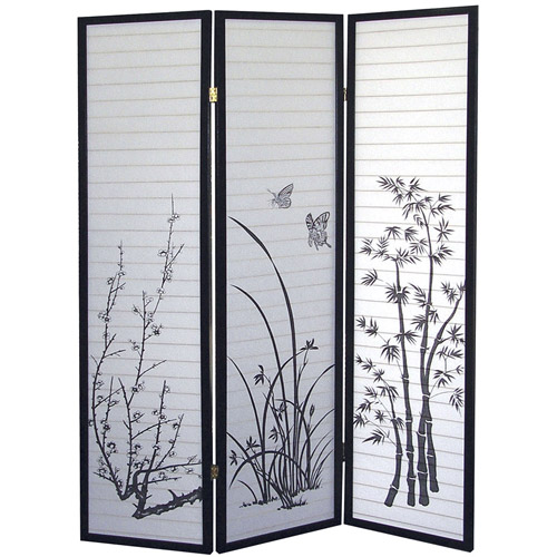 ORE International 3-Panel Room Divider, Floral Scenery