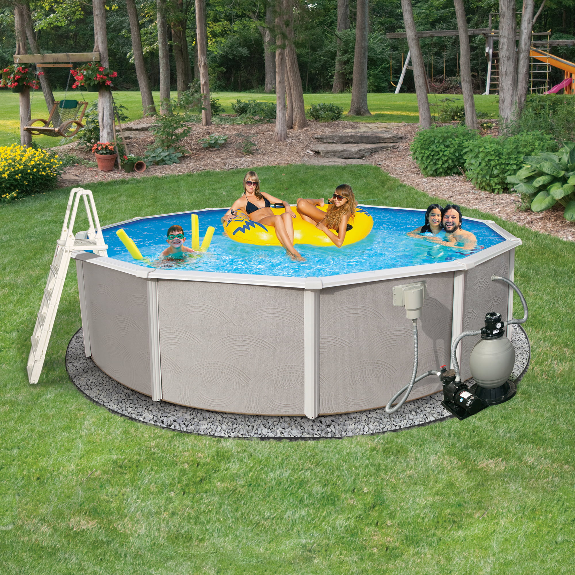 Click here to buy Blue Wave Belize 27-ft Round 48-in Deep 6-in Top Rail Metal Wall Swimming Pool Package by Blue Wave.