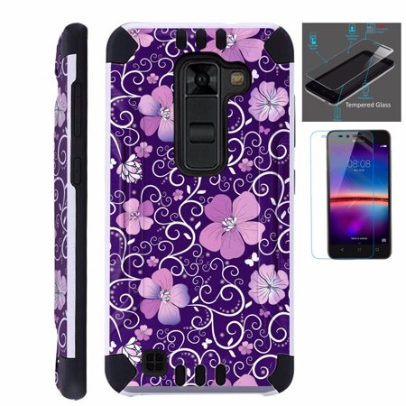 For LG Stylo 2 Plus MS550 (Metro PCS / T-Mobile Only) Case + Tempered Glass Screen Protector / Slim Dual Layer Brushed Texture Armor Hybrid TPU KomBatGuard Phone Cover (Purple Flowe Vine) ()