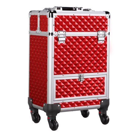 Professional Makeup Artist Travel Rolling Case Organizer With Drawer Wheels Large Capacity Trolley Makeup Case