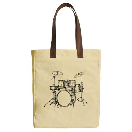 Women Drums Musician Beige Print Canvas Tote Bag Leather Handles Was 30