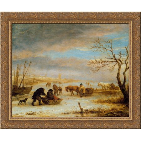 Frozen Ice Landscape with Carriages and Boats 20x20 Gold Ornate Wood Framed Canvas Art by Ostade, Isaac van - Love Boat Isaac