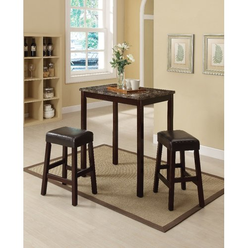 Winston Porter Port Augusta 3 Piece Counter Height Solid Wood Dining Set