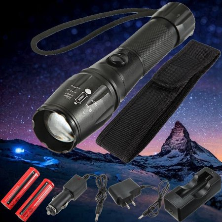 2000 Lumen  T6 LED Waterproof Flashlight Torch Light Lamp 5 Modes + 2pcs 18650 Battery + 2pcs Charger + Holster For Fishing Camping