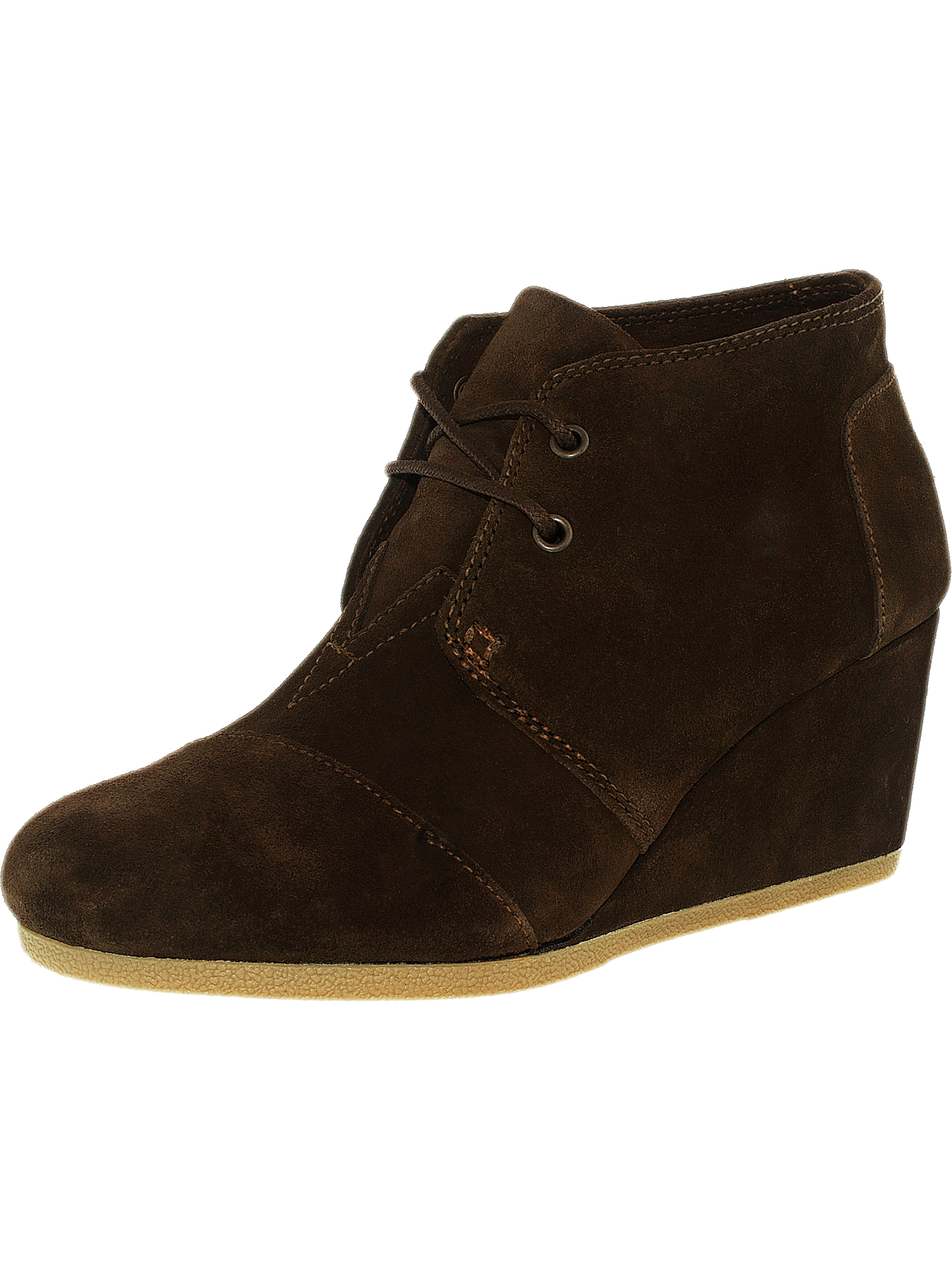 Toms Women's Desert Wedge Suede Toffee Perforated Feaf Ankle-High Pump - 7.5M