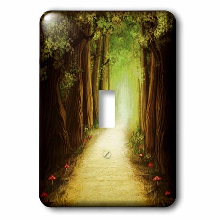 3dRose Magic Dark Forest Road, Single Toggle Switch
