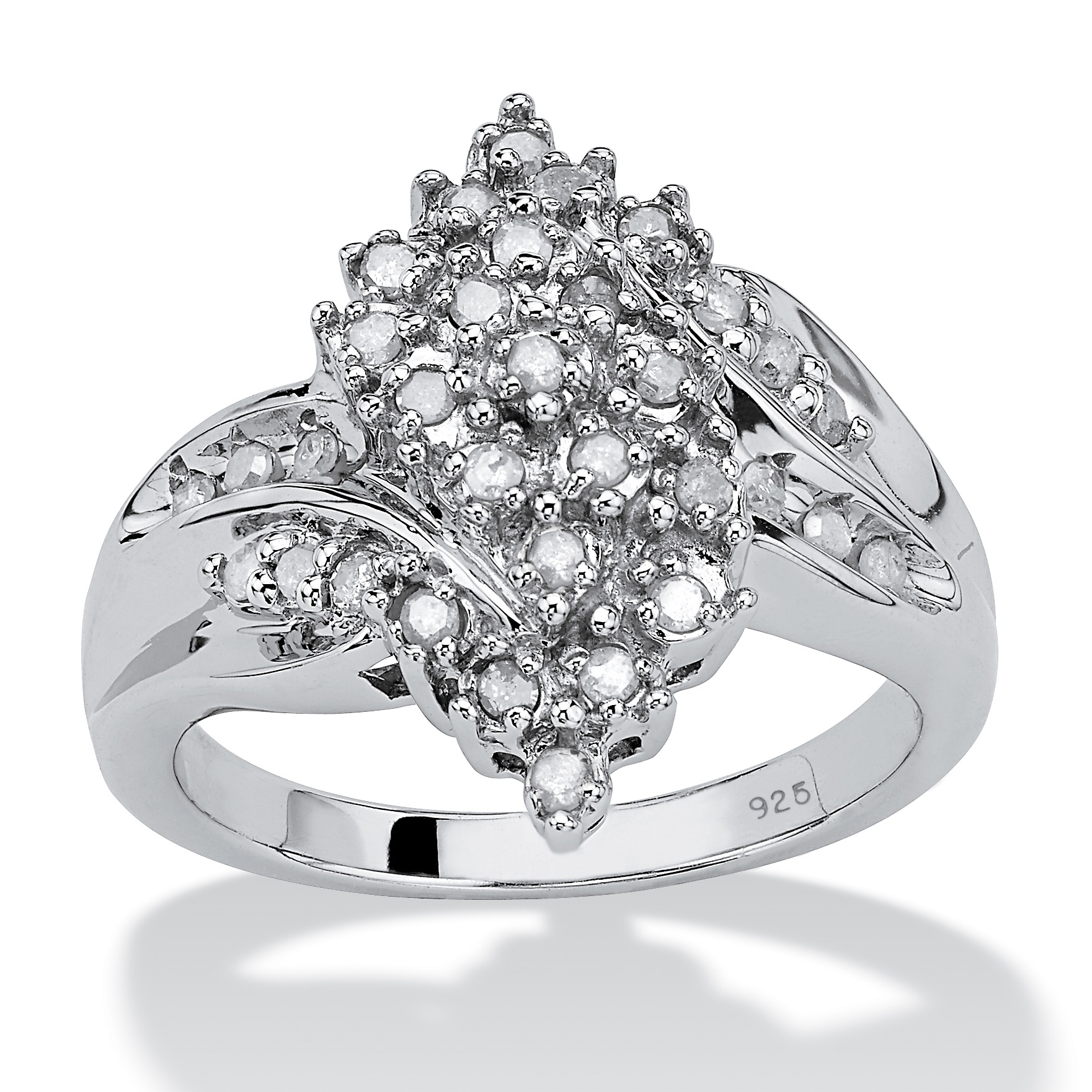 3 8 TCW Round Ice Diamond Platinum over Sterling Silver Cluster Swirl Ring by PalmBeach Jewelry