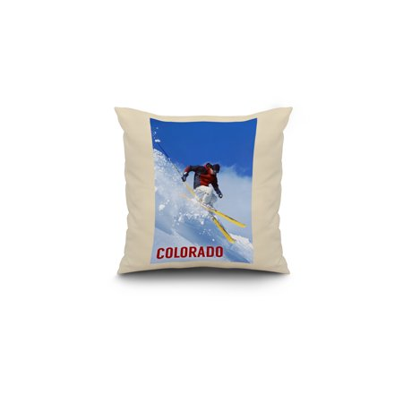 Colorado Skier Lantern Press Photography 16x16 Spun Polyester Pillow W