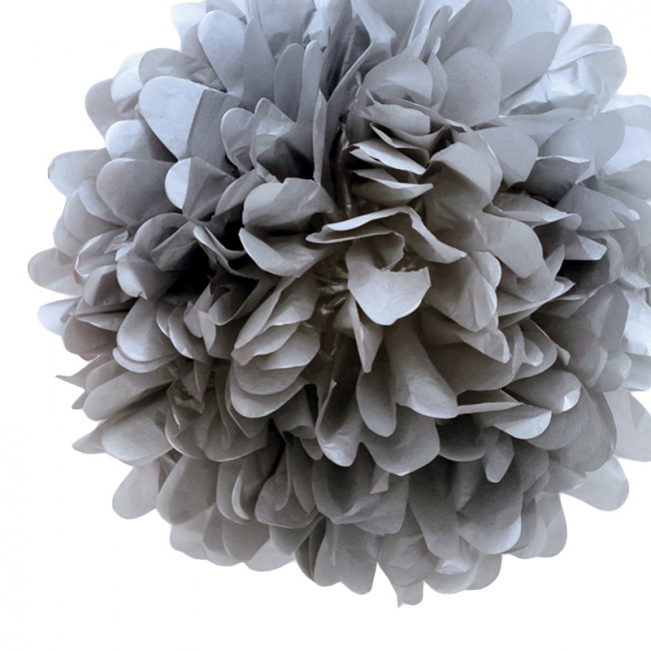 Quasimoon EZ-FLUFF 8'' Charcoal Gray Tissue Paper Pom Pom Flowers, Hanging Decorations (4 Pack) by PaperLanternStore