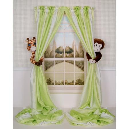 Curtain Critters ALGFMY240510COL Plush Safari Giraffe and Chocolate Monkey Curtain Tieback Collector (Seek Safari Monkey)