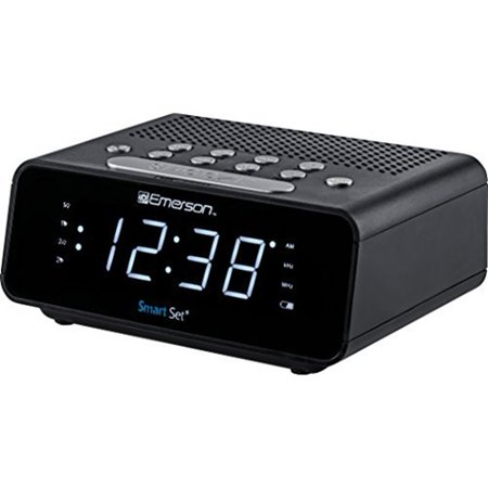 Emerson SmartSet Alarm Clock Radio With AM/FM Radio and White LED Display ER100101