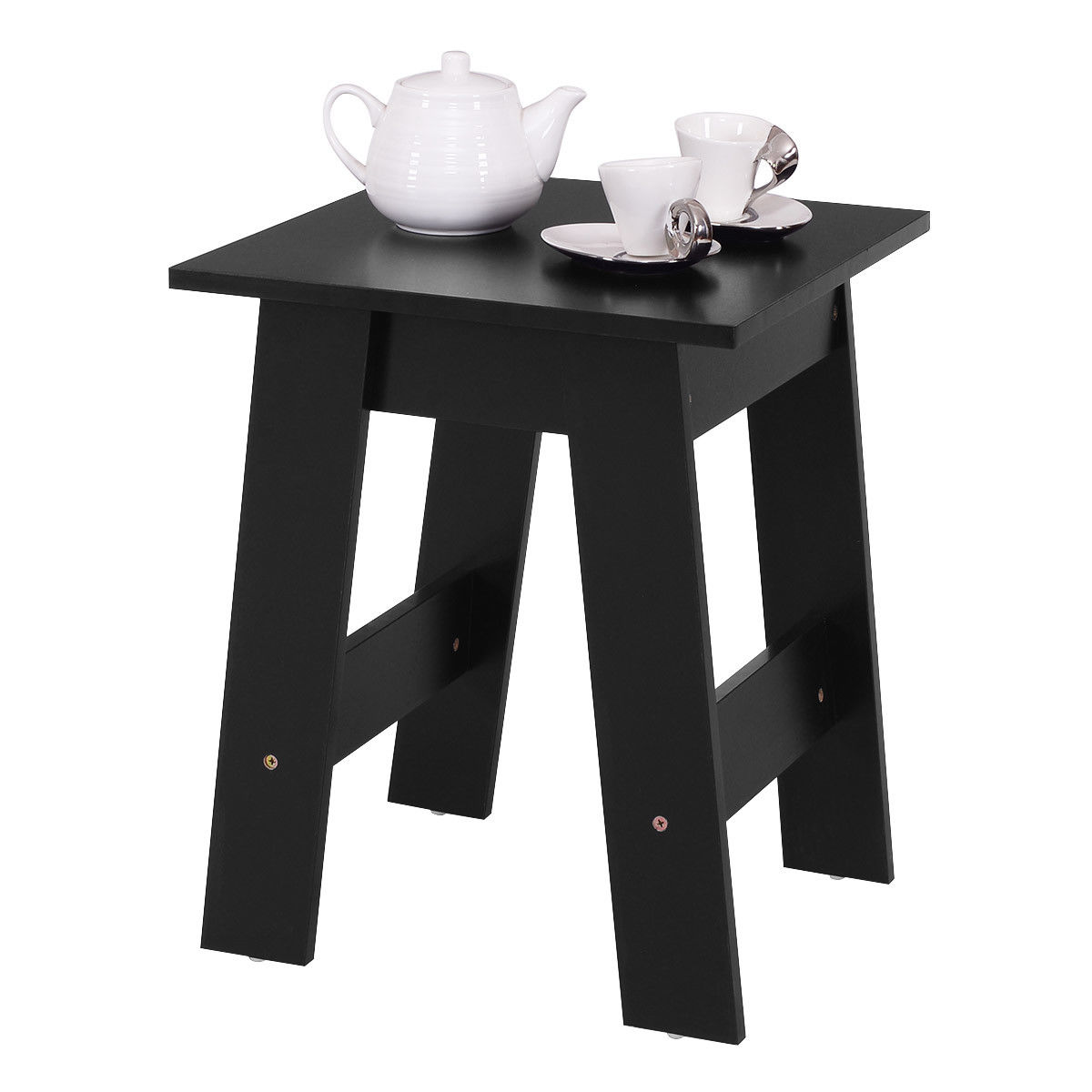 Costway Modern Wood End Table Accent Coffee Table Simple Design Side Desk Table Black by Costway