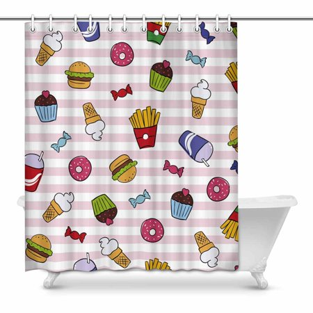 YUSDECOR Funny Fast Food on Stripes Franch Fries Ice Cream Cake Donut and Hamburger Home Decor Waterproof Polyester Bathroom Shower Curtain Bath 60x72 inch - image 1 of 1