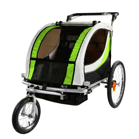 Clevr 3-in-1 Double Seat Stroller and Jogger Bike Trailer, Green