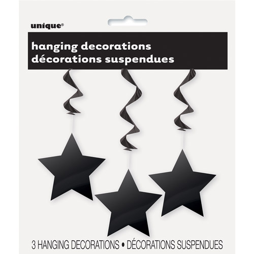 Star Hanging Decorations, 26 in, Black, 3ct