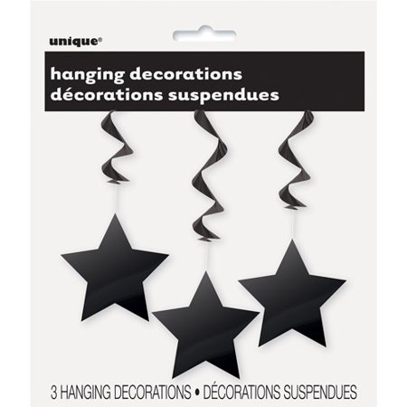 Star Hanging Decorations, 26 in, Black, 3ct (Graduations Decorations)