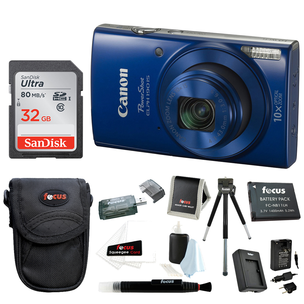 Canon PowerShot ELPH 190 IS Digital Camera (Blue) with 32GB Accessory Bundle