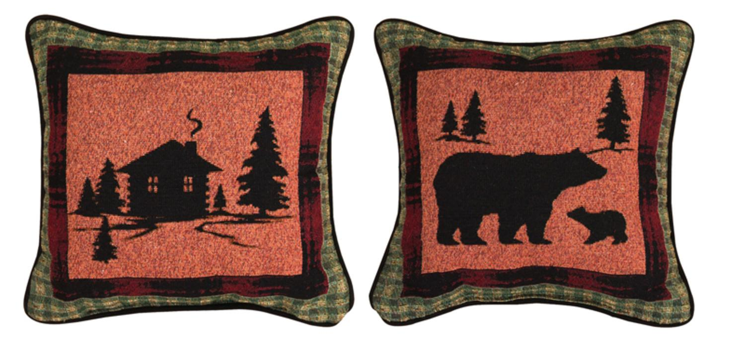 "12.5"" Rustic Lodge Cabin in the Woods Square Throw Pillow by Manual Weavers"