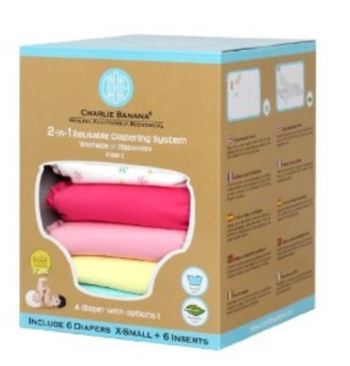 Charlie Banana? 2-in-1 Newborn Diapers - 6 Pack Multi-Colored
