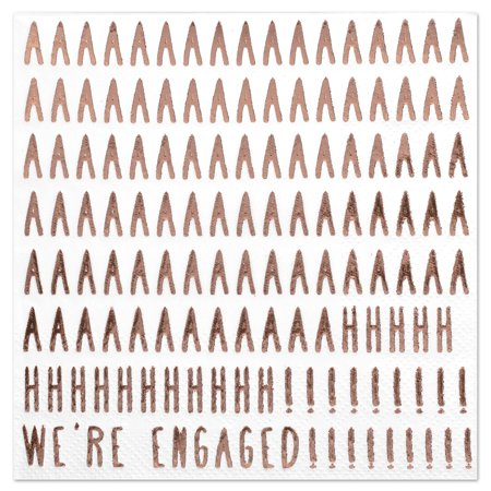 Koyal Wholesale We're Engaged, Funny Quotes Cocktail Napkins, Rose Gold Foil, Bulk 50 Pack Count 3 Ply Napkins Wholesale Cocktail Napkins