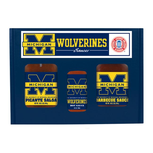 Michigan Wolverines NCAA Tailgate Kit (5oz Hot Sauce, 16oz BBQ Sauce, 16oz Picante Salsa)