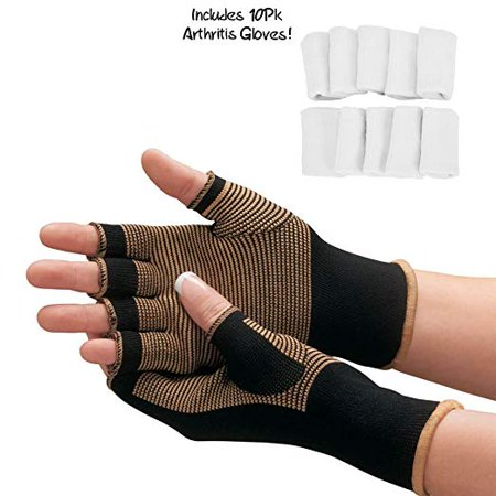 Copper Compression Arthritis Gloves - #1 Best Copper Infused Fit Glove For Carpal Tunnel, Computer Typing, And Everyday Support For Hands And Joints (1 PAIR + BONUS Arthritis Finger