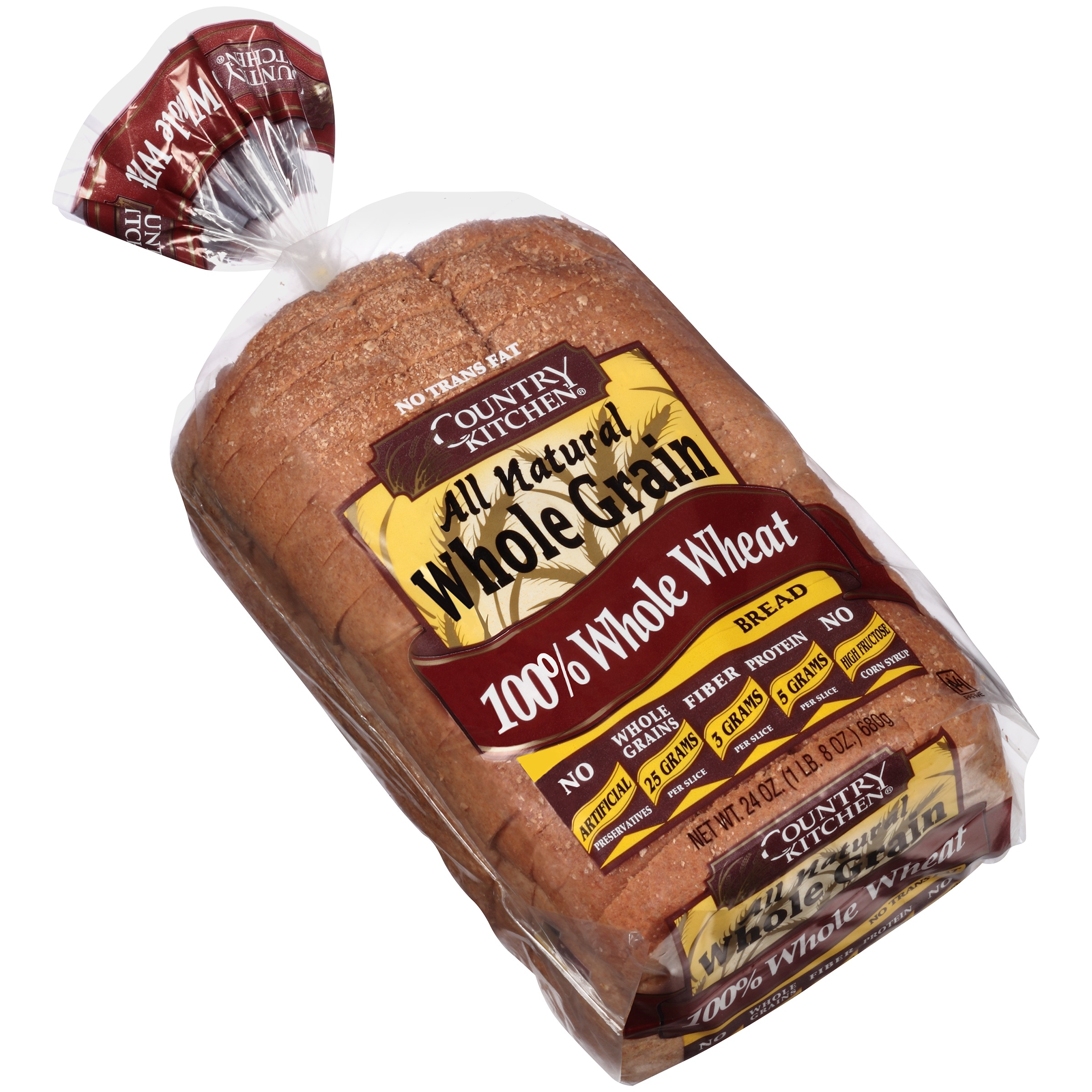 Country Kitchen All Natural Whole Grain 100 Wheat Bread 24 Oz