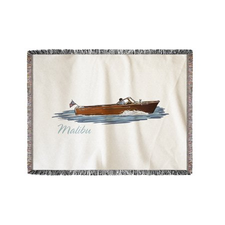 Malibu  California   Chriscraft Boat   Icon   Lantern Press Artwork  60X80 Woven Chenille Yarn Blanket