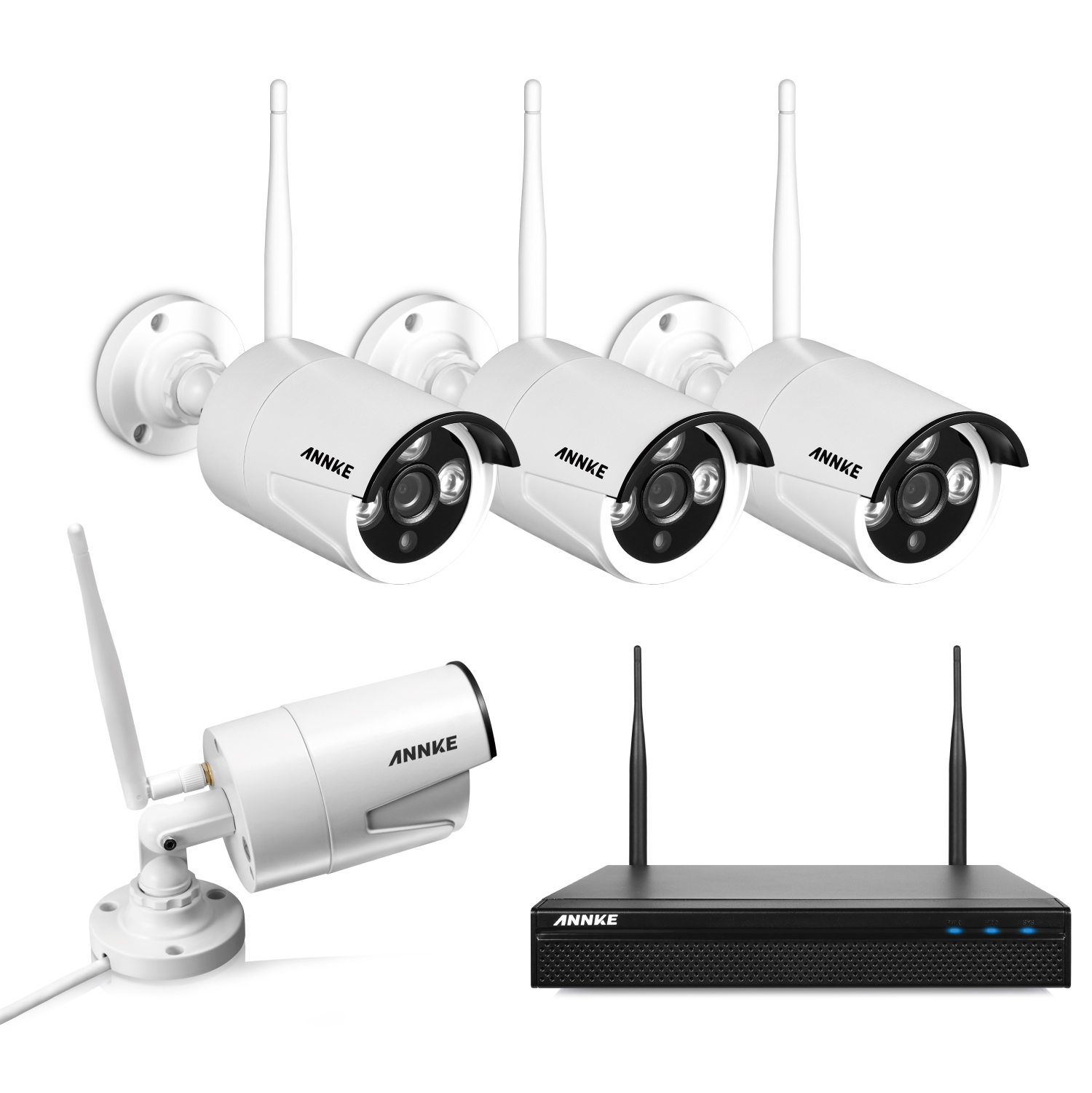 Annke CCTV 960P Wireless Security Camera System, 4CH WIFI NVR with 4x 1.3MP Surveillance Cameras, Quick Remote view, 1280*960 High Resolution with Superior Night vision With No Hard Drive Disk