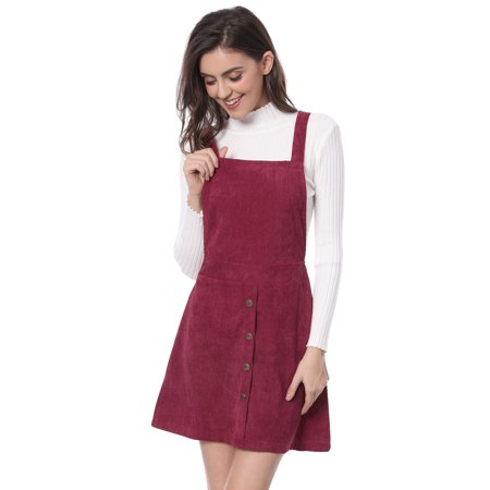 Leaves Corduroy Dress (Women's Corduroy Button Decor A Line Suspender Overall Skirt Dress )