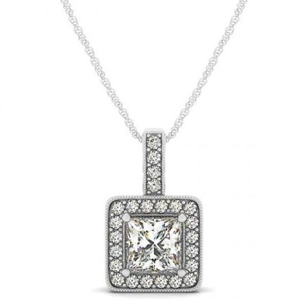 - Harry Chad HC11476 1.50 CT 14K White Gold Princess Diamonds Pendant Necklace without Chain, Color F - VVS1 Clarity