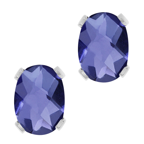 1.30 Ct Oval Checkerboard Shape Blue Iolite Silver Plated Brass Stud Earrings