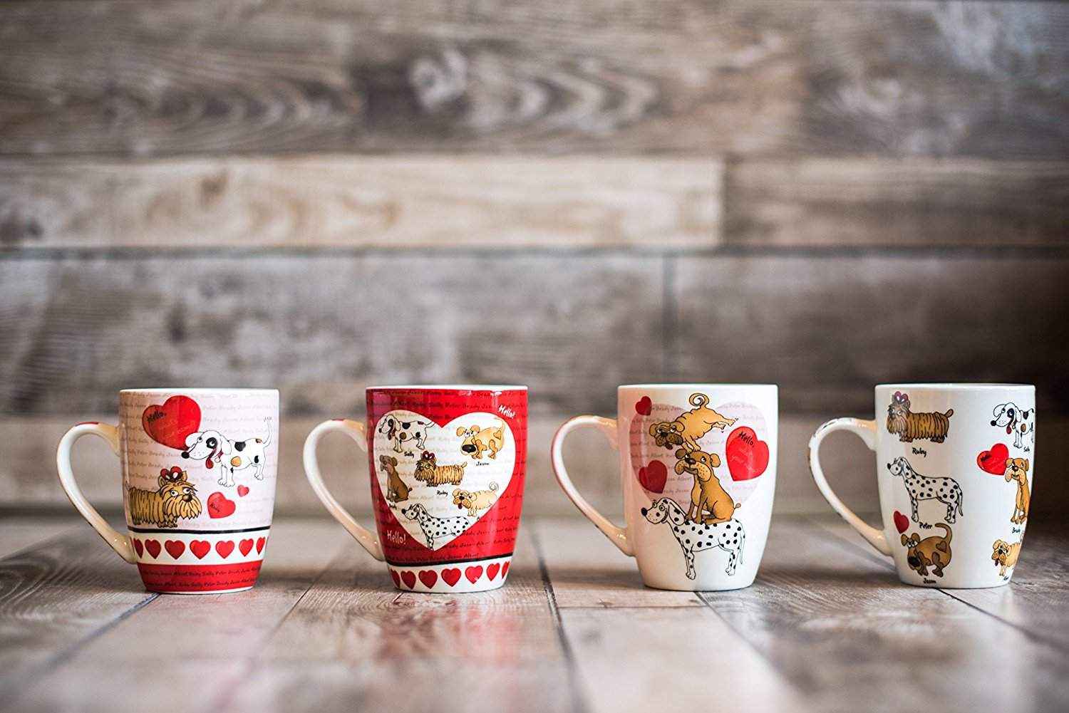 All For You New Bone China Mug with Gift Box-Puppy Dog, Heart, Love-Set of 4, 12 Oz, Gift... by All For You Home