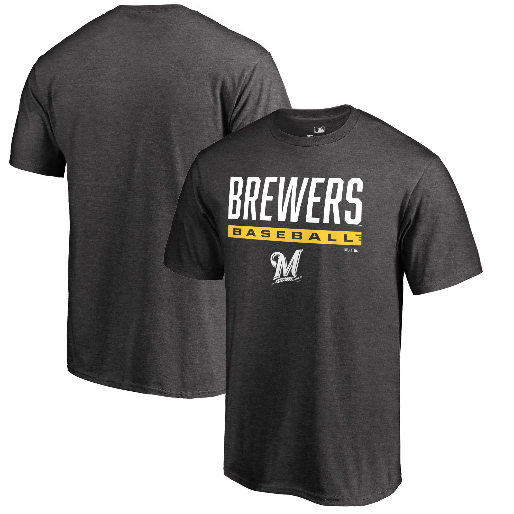 Milwaukee Brewers Fanatics Branded Win Stripe Big and Tall T-Shirt - Ash