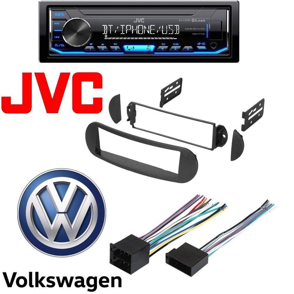 JVC InDash MP3 USB Digital Media Car Stereo Radio AM FM Bluetooth Car Radio Stereo Single DIN Dash Kit Wire Harness for 1998-12 Volkswagon Beetle