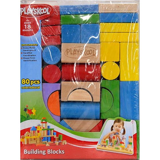 Playskool 80 Piece Wooden Building Blocks