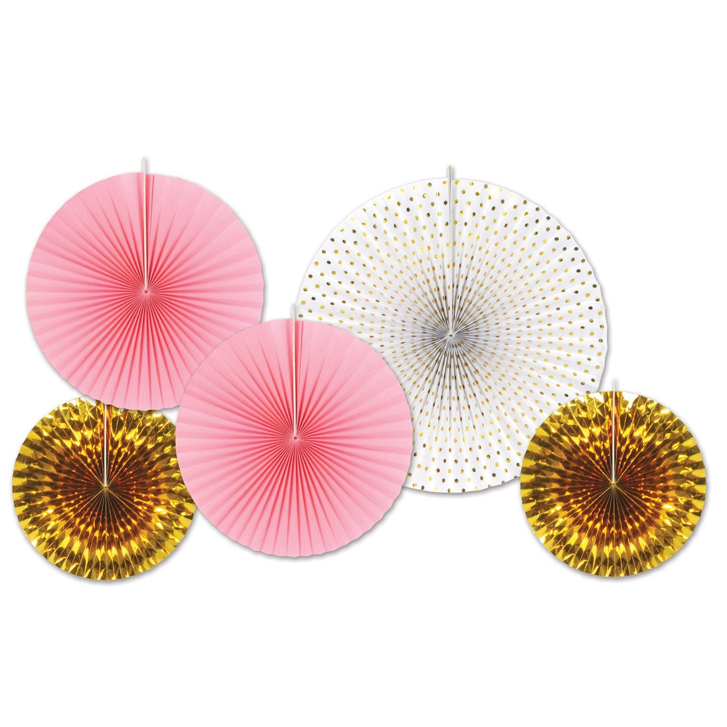 Club Pack of 60 Decorative Gold and Pink Paper Foil Fans 16""